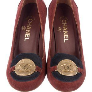 Chanel CC Logo Coin Suede Wedge Pumps